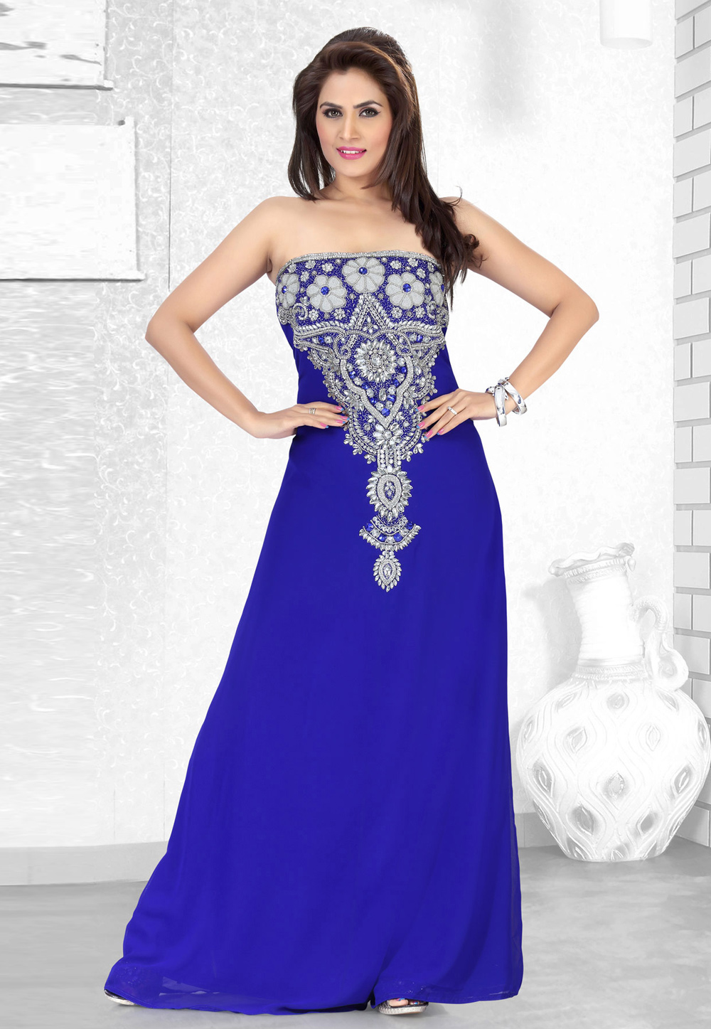 Blue Faux Georgette Embroidered Readymade Fustan 194514