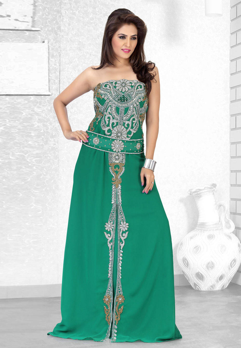 Green Faux Georgette Embroidered Readymade Fustan 194517