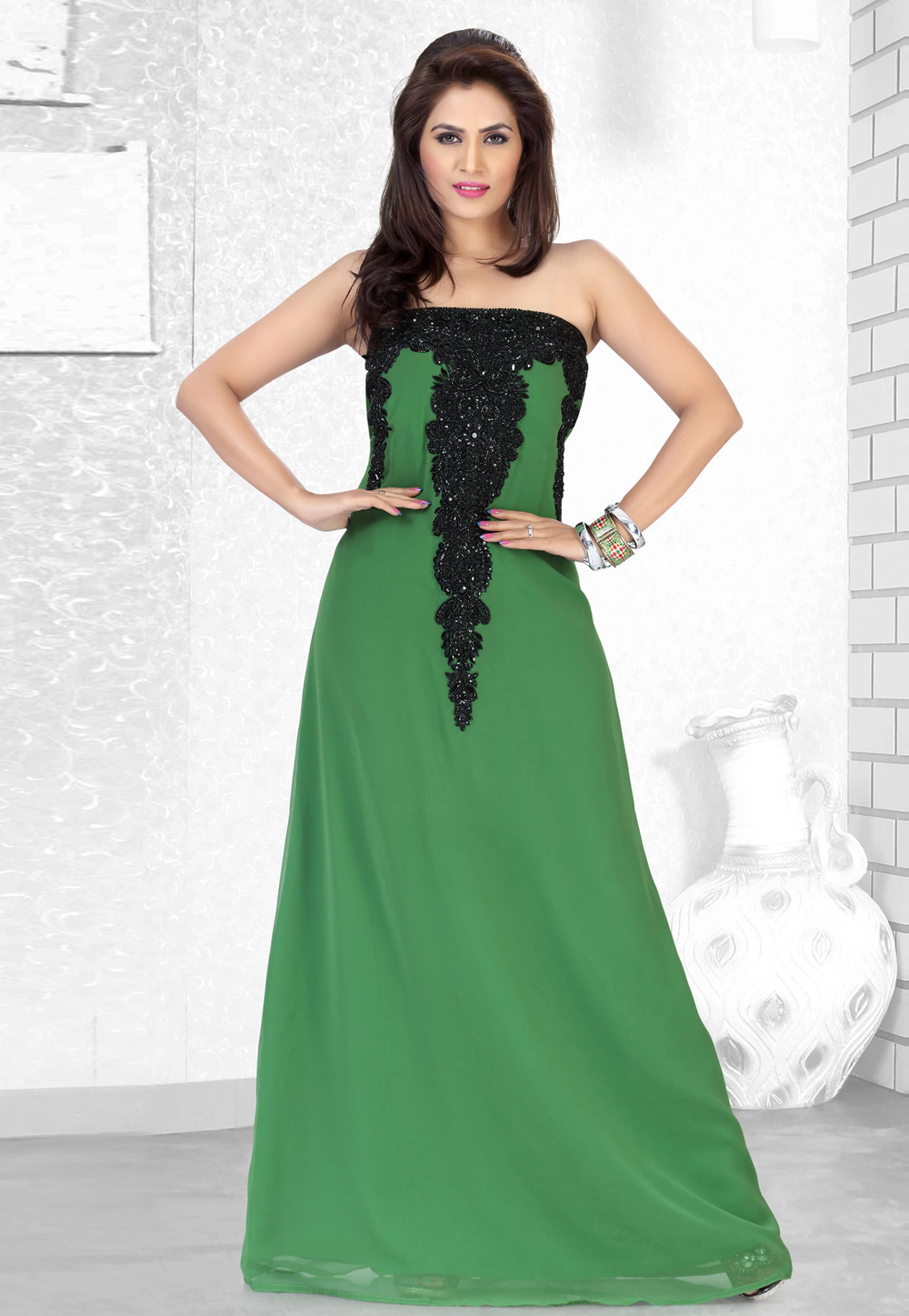 Green Faux Georgette Embroidered Readymade Fustan 194519