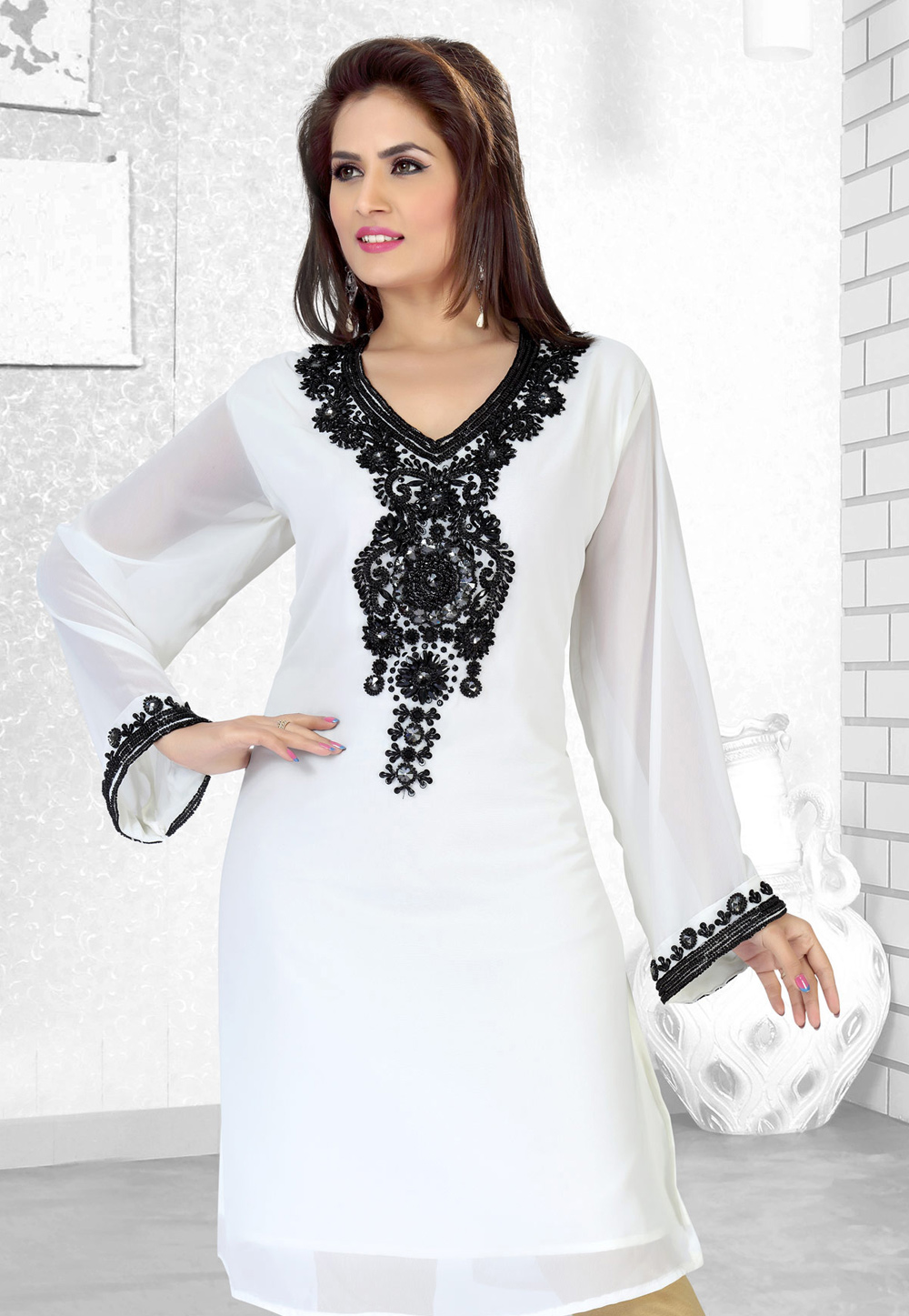 White Faux Georgette Embroidered Readymade Islamic Kurti 194521