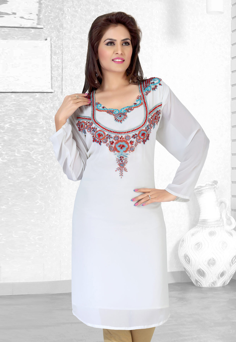 White Faux Georgette Embroidered Readymade Islamic Kurti 194522