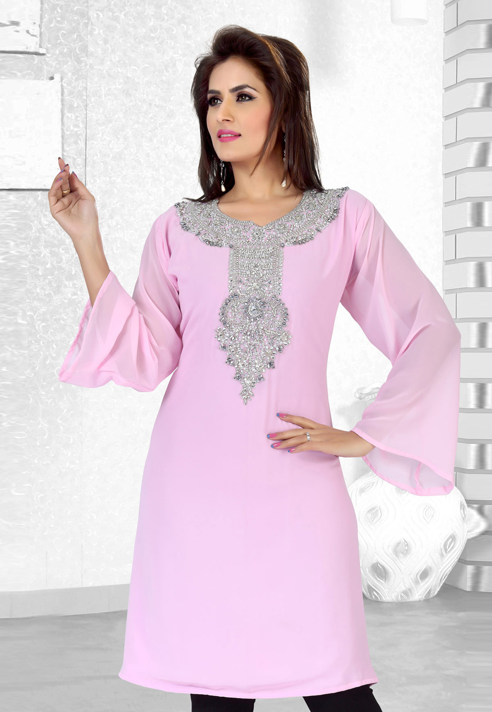 Light Pink Faux Georgette Embroidered Readymade Islamic Kurti 194524