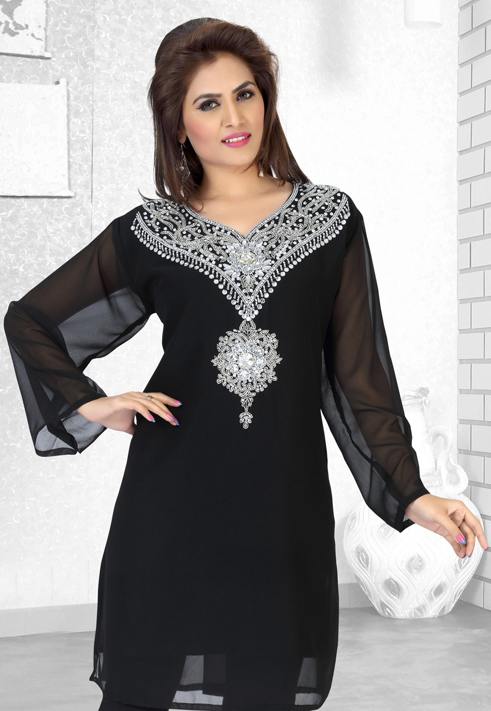 Black Faux Georgette Embroidered Readymade Islamic Kurti 194525