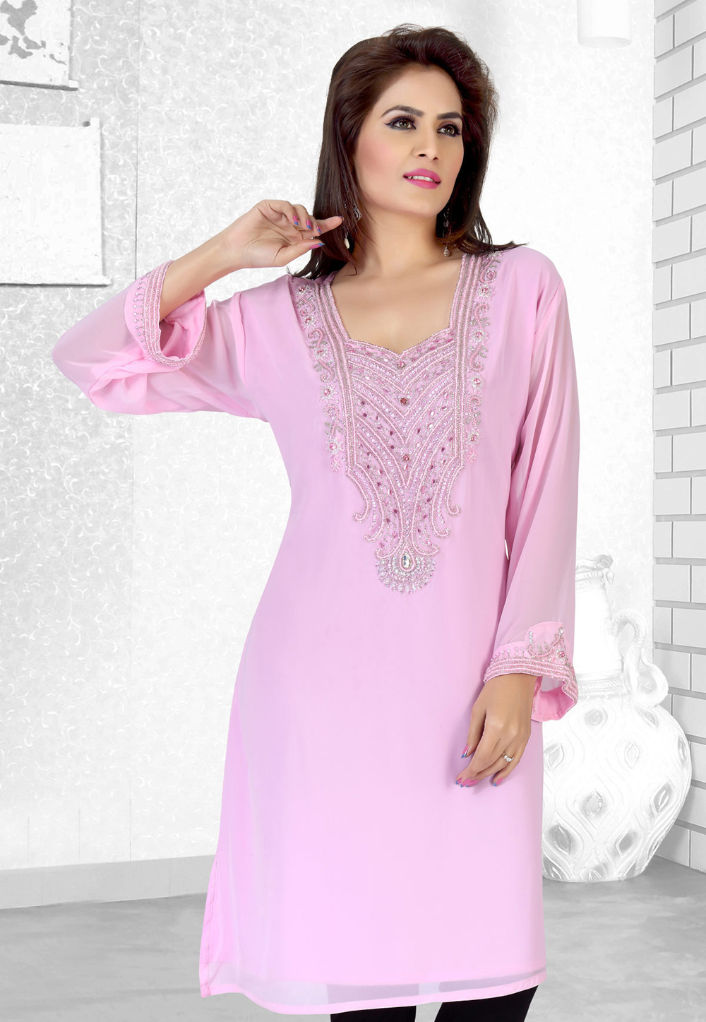 Light Pink Faux Georgette Embroidered Readymade Islamic Kurti 194526
