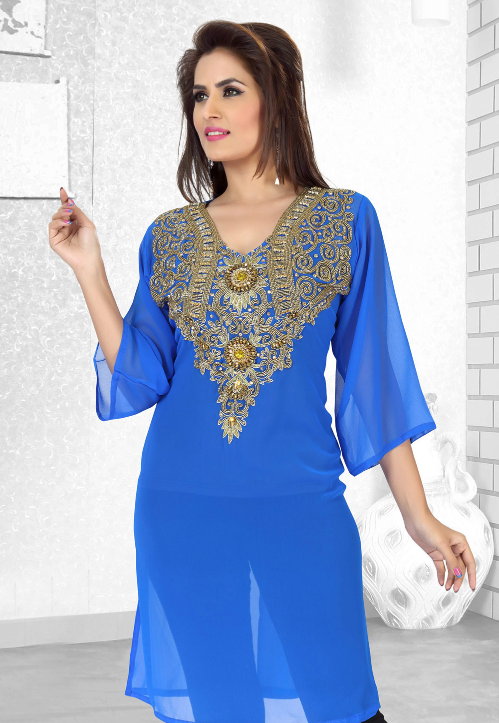 Blue Faux Georgette Embroidered Readymade Islamic Kurti 194527