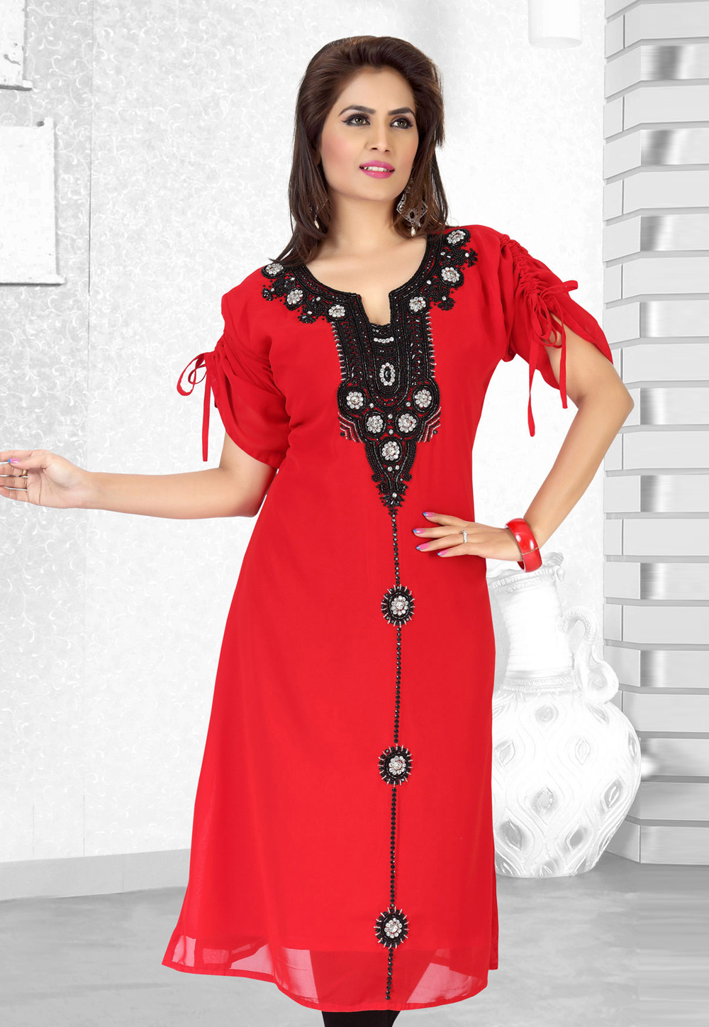 Red Faux Georgette Embroidered Readymade Islamic Kurti 194528