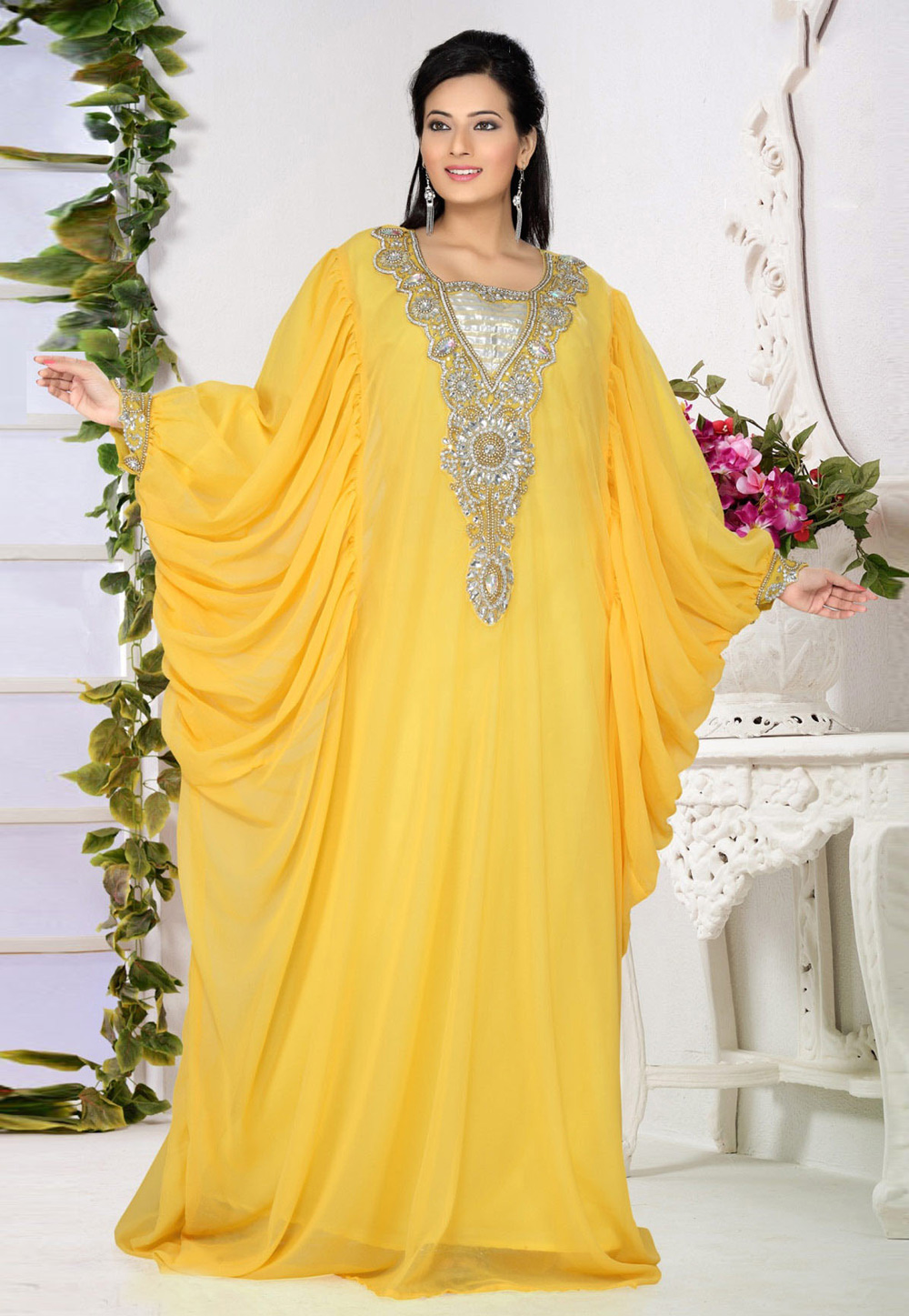 Yellow Faux Georgette Embroidered Readymade Farasha 194529