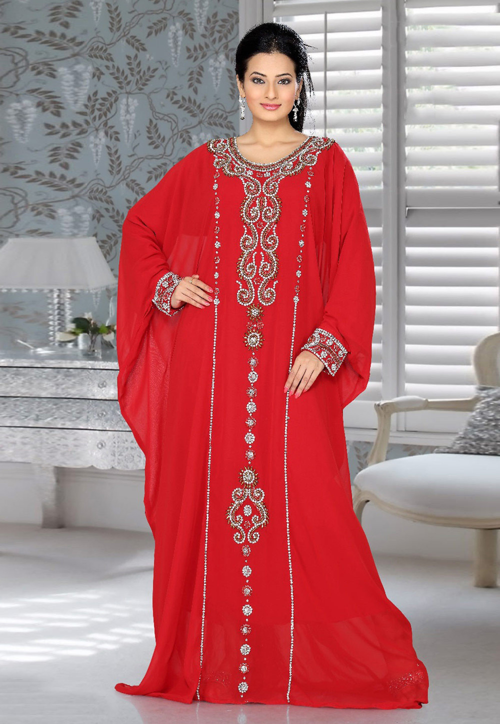 Red Faux Georgette Embroidered Readymade Farasha 194530
