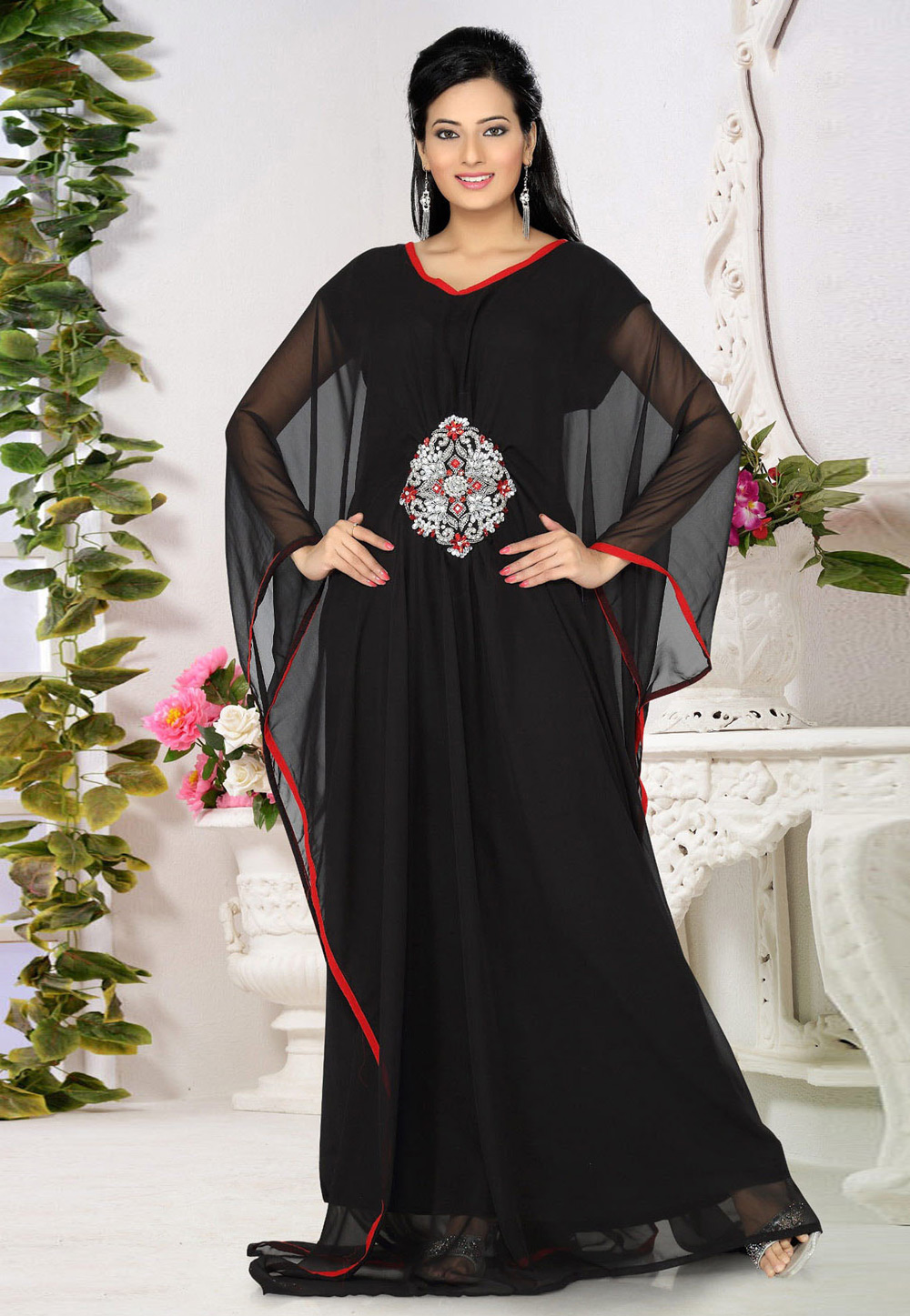 Black Faux Georgette Embroidered Readymade Farasha 194531