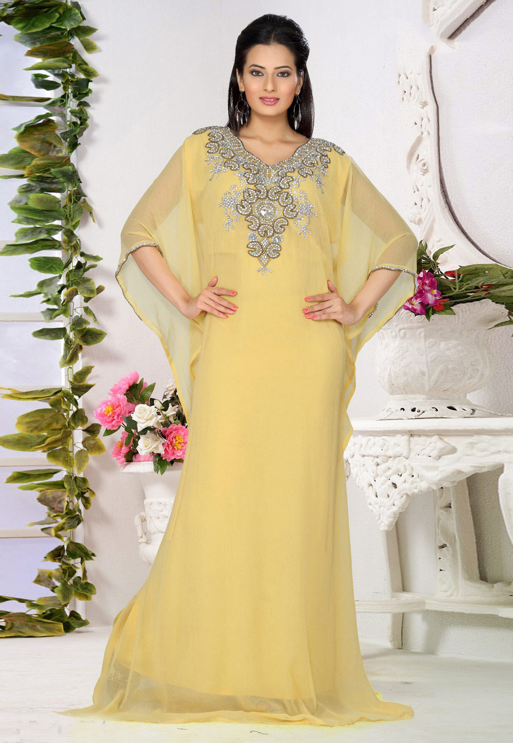 Yellow Faux Georgette Embroidered Readymade Farasha 194537