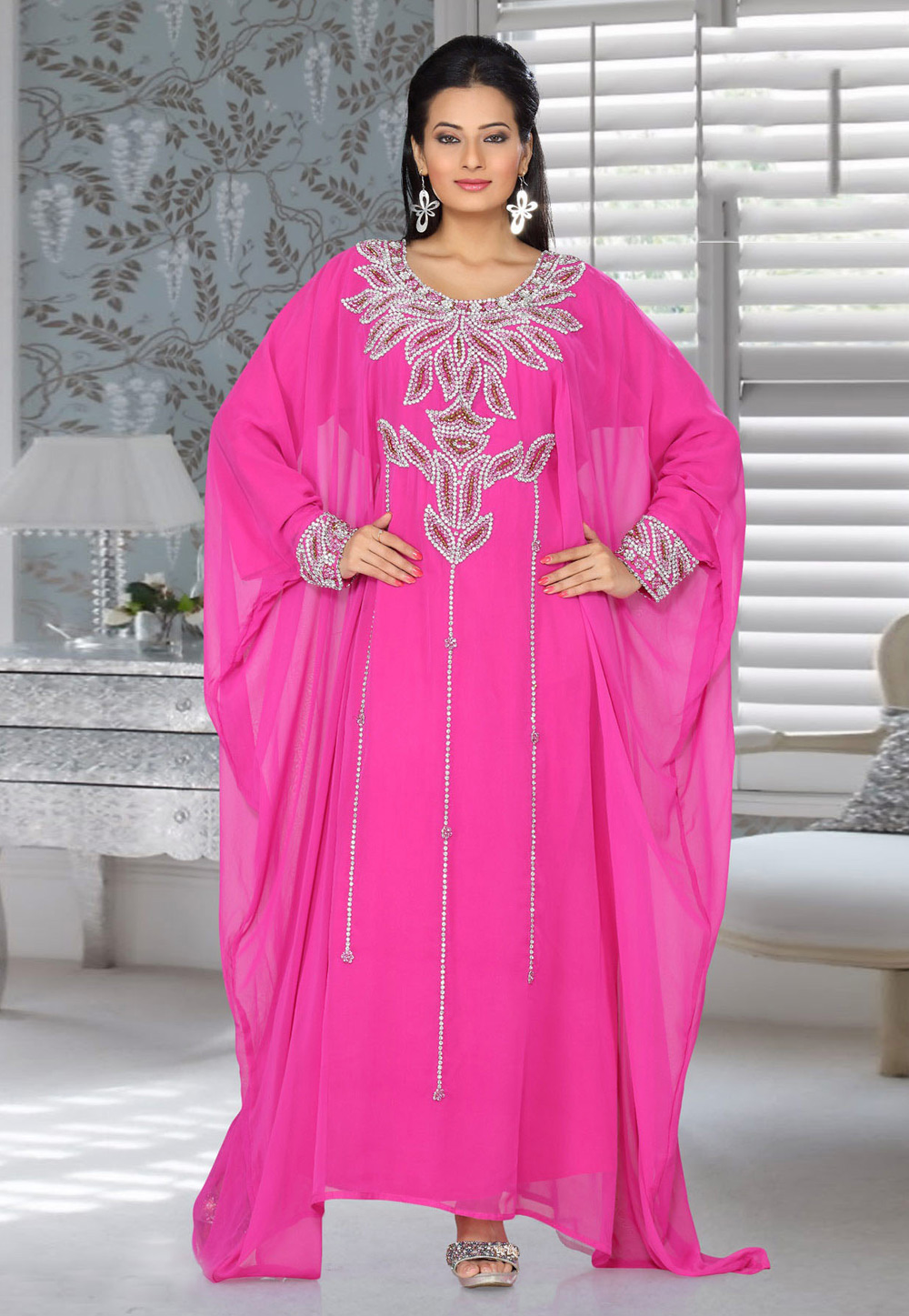 Pink Faux Georgette Embroidered Readymade Farasha 194538