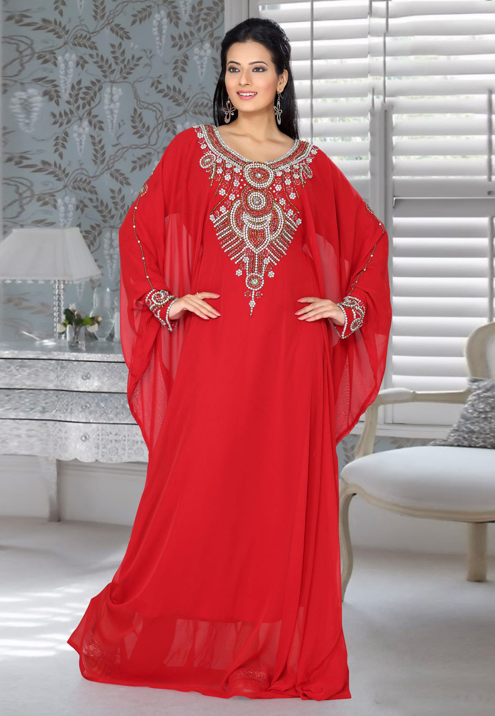 Red Faux Georgette Embroidered Readymade Farasha 194540