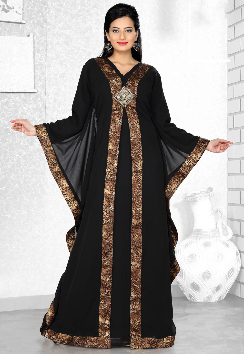Black Faux Georgette Embroidered Readymade Farasha 194543