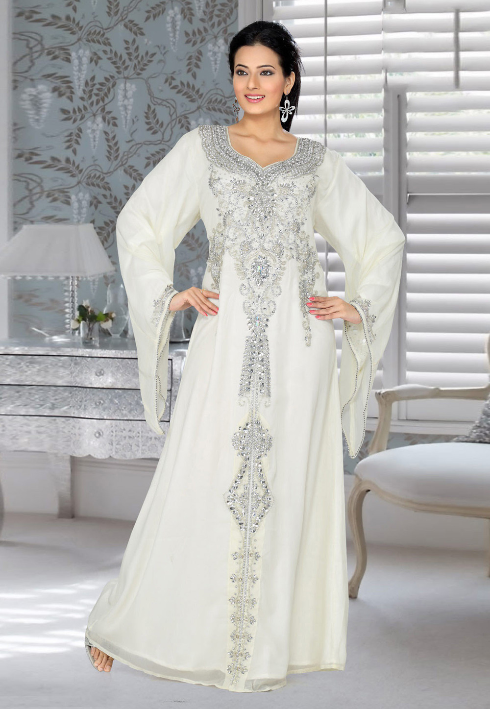 Off White Faux Georgette Embroidered Readymade Kaftan 194545