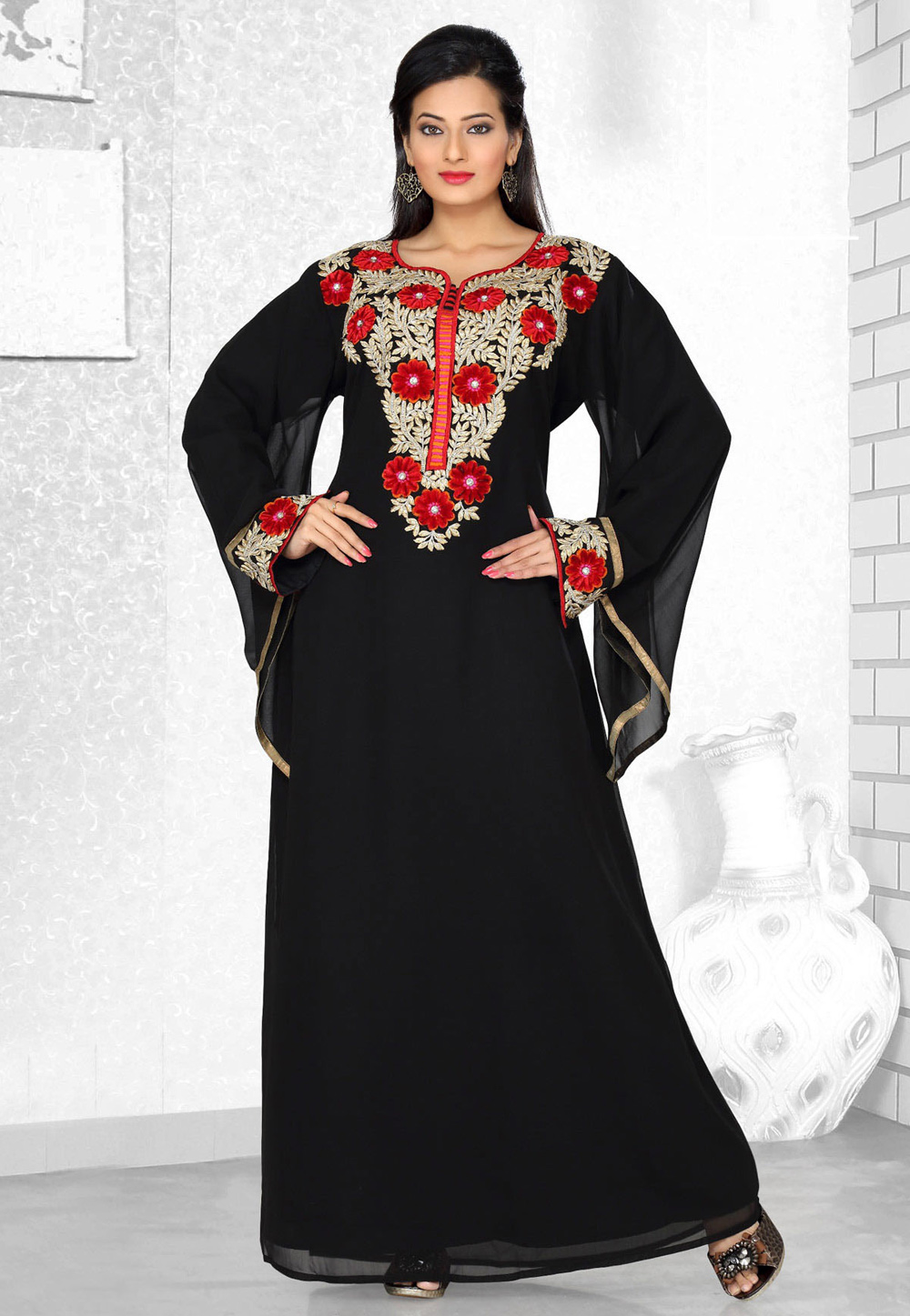 Black Faux Georgette Embroidered Readymade Kaftan 194547