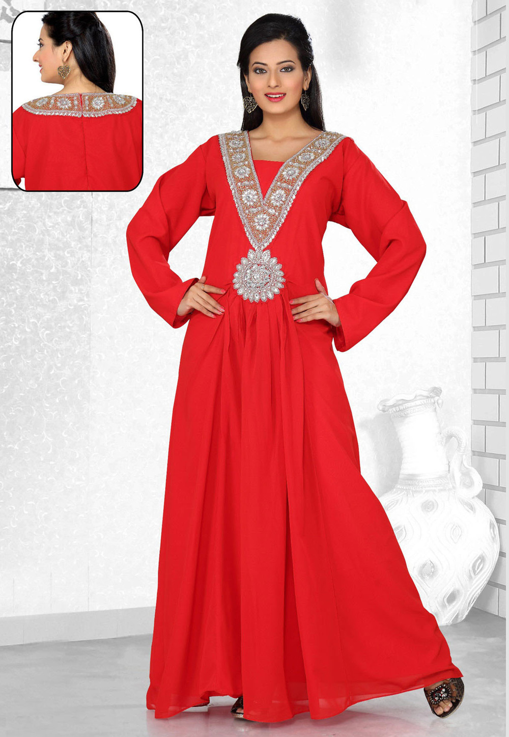 Red Faux Georgette Embroidered Readymade Kaftan 194548