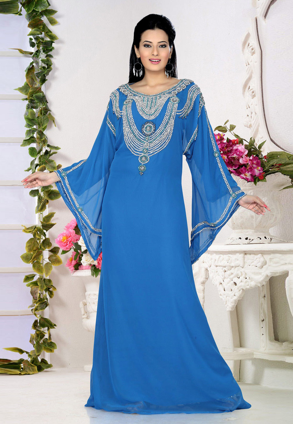 Blue Faux Georgette Embroidered Readymade Kaftan 194549
