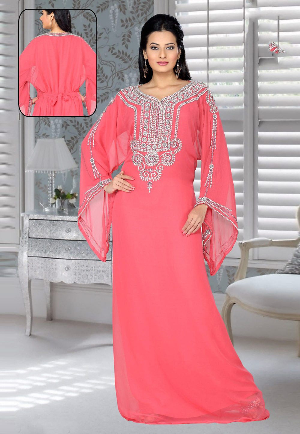 Pink Faux Georgette Embroidered Readymade Kaftan 194551