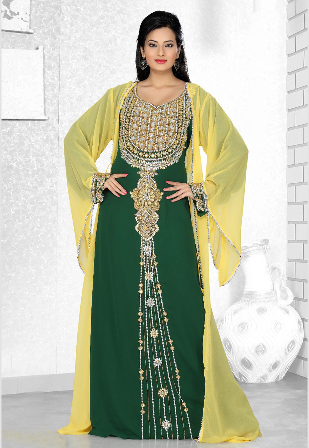 Green Faux Georgette Embroidered Readymade Kaftan 194552