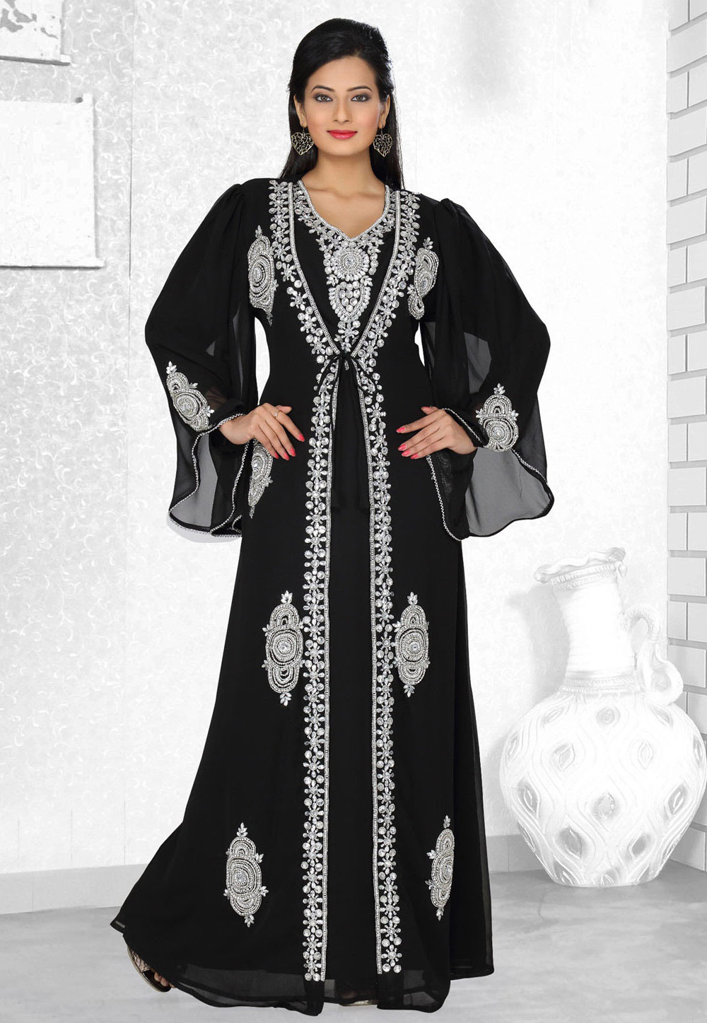 Black Faux Georgette Embroidered Readymade Kaftan 194554