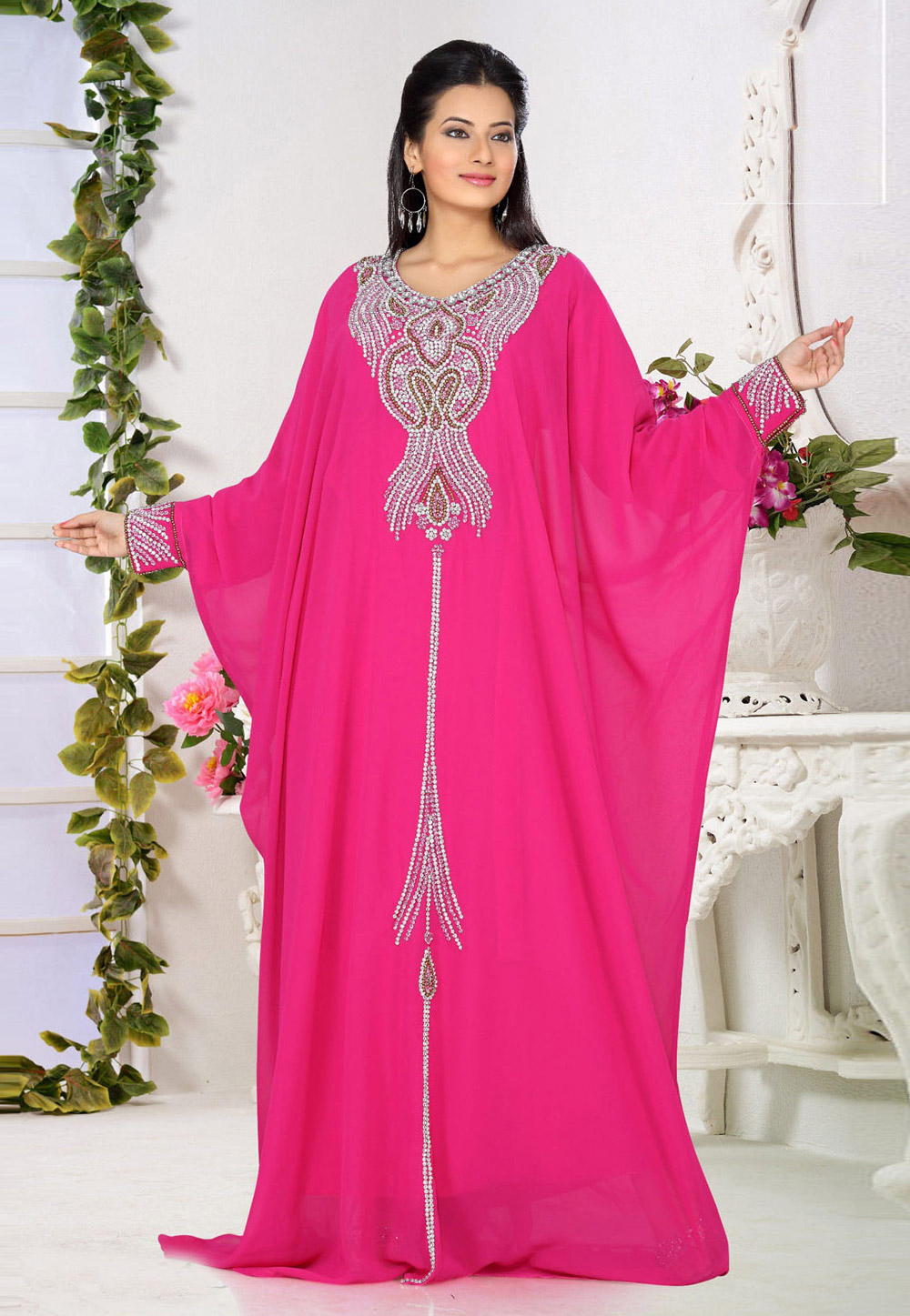 Pink Faux Georgette Embroidered Readymade Farasha 194300