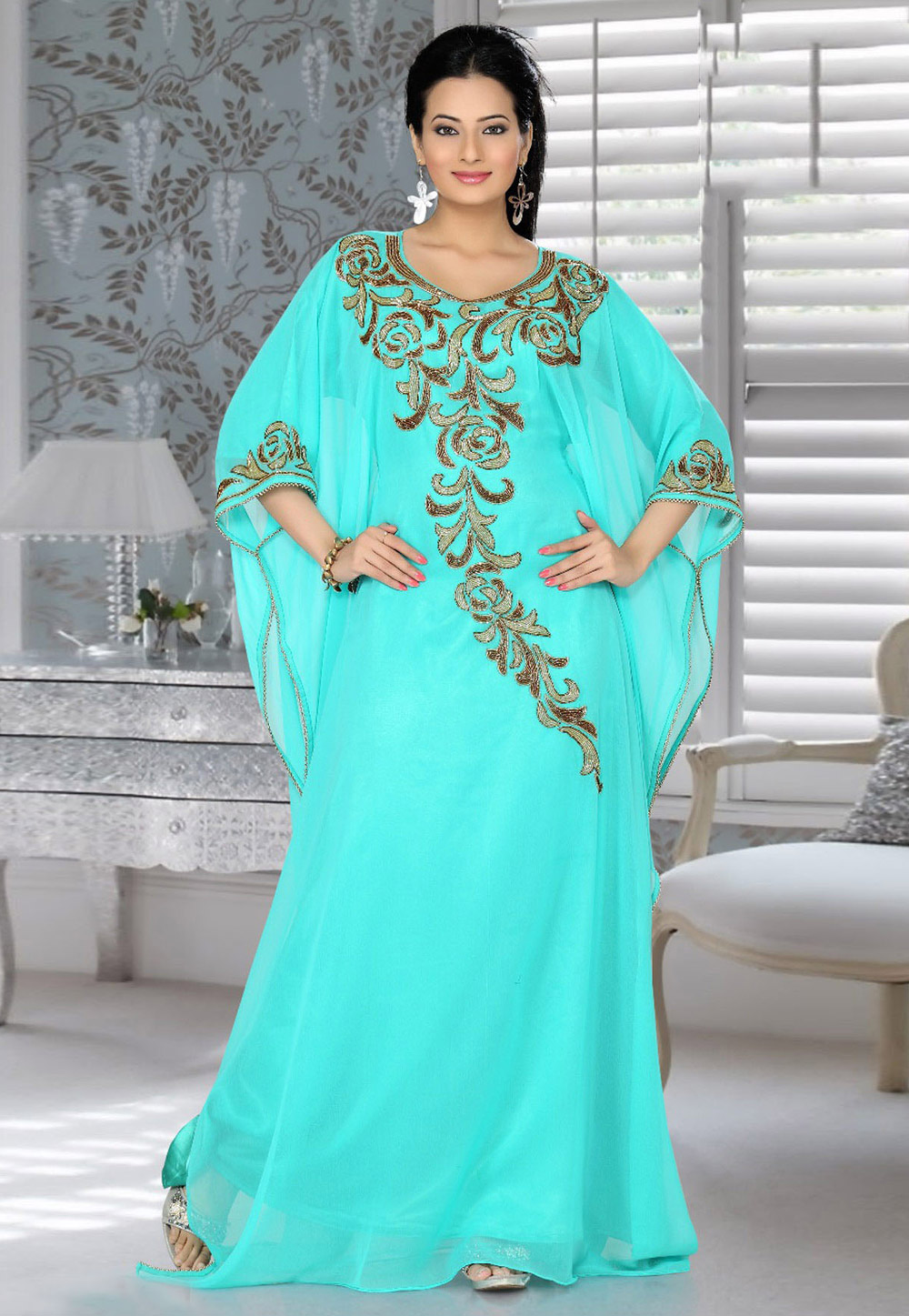 Aqua Faux Georgette Embroidered Readymade Farasha 194301