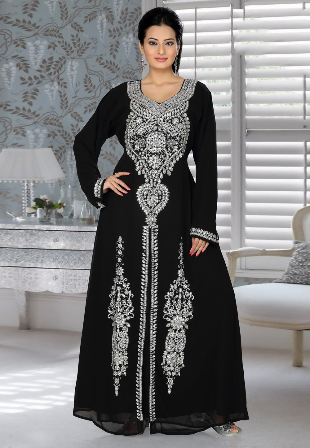 Black Faux Georgette Embroidered Readymade Kaftan 194303