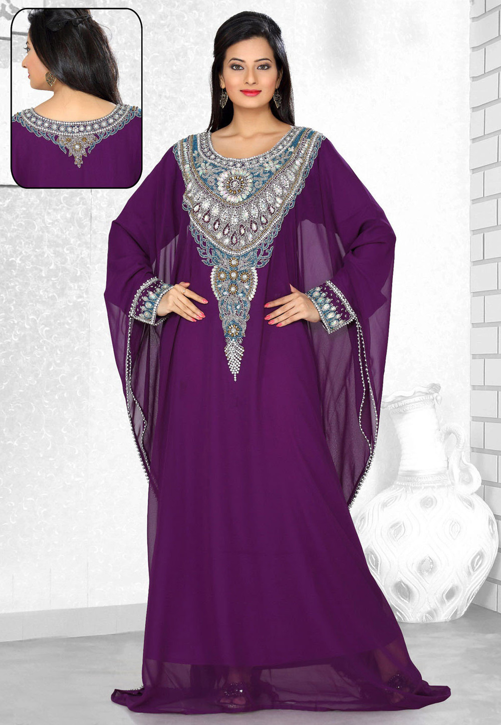Purple Faux Georgette Embroidered Readymade Farasha 194305