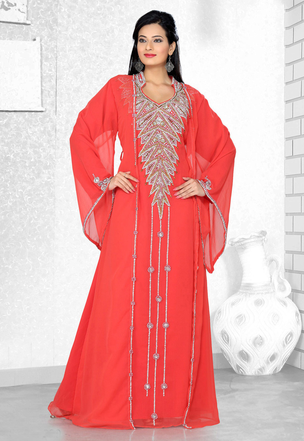 Red Faux Georgette Embroidered Readymade Kaftan 194306