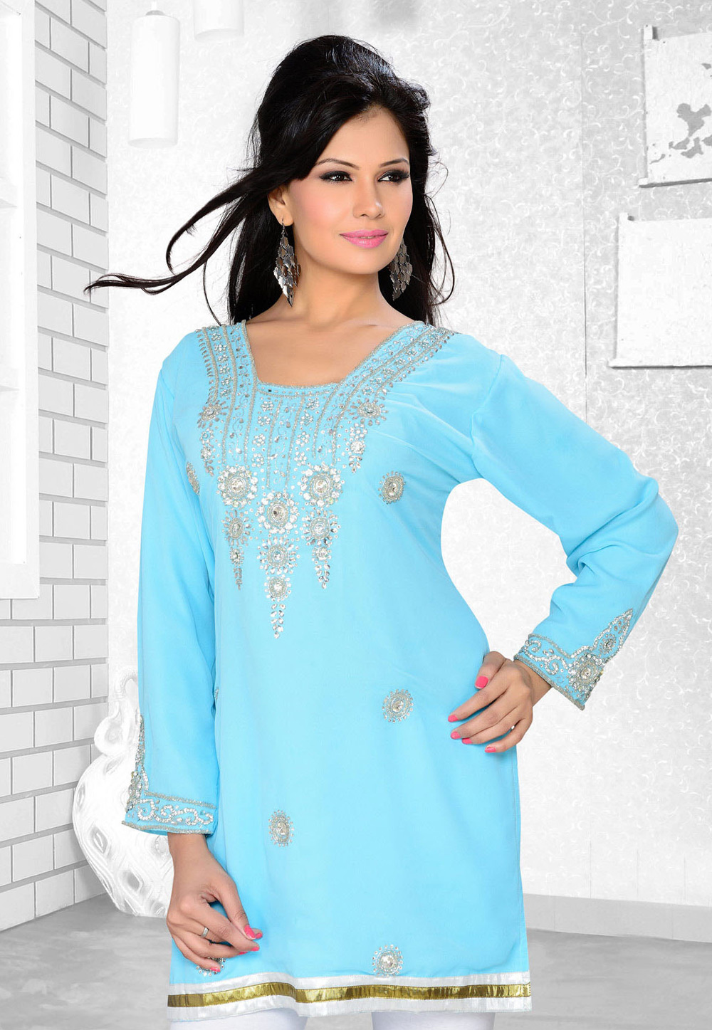 Aqua Faux Georgette Embroidered Readymade Islamic Kurti 194309