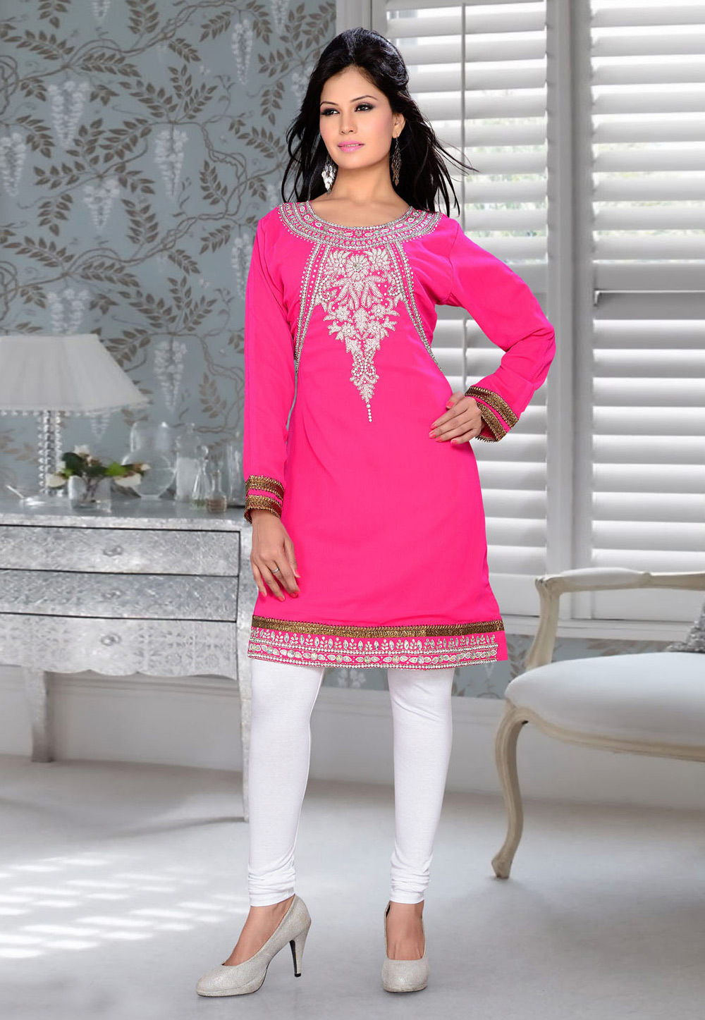 Pink Faux Georgette Embroidered Readymade Islamic Kurti 194310