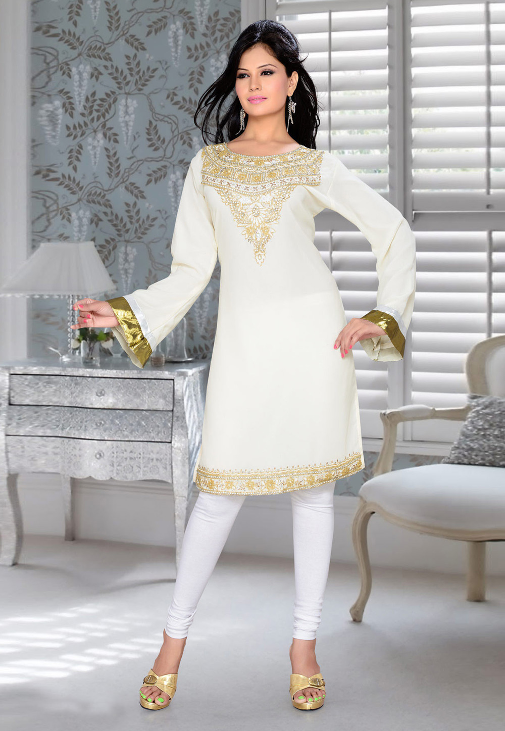 Off White Faux Georgette Embroidered Readymade Islamic Kurti 194312
