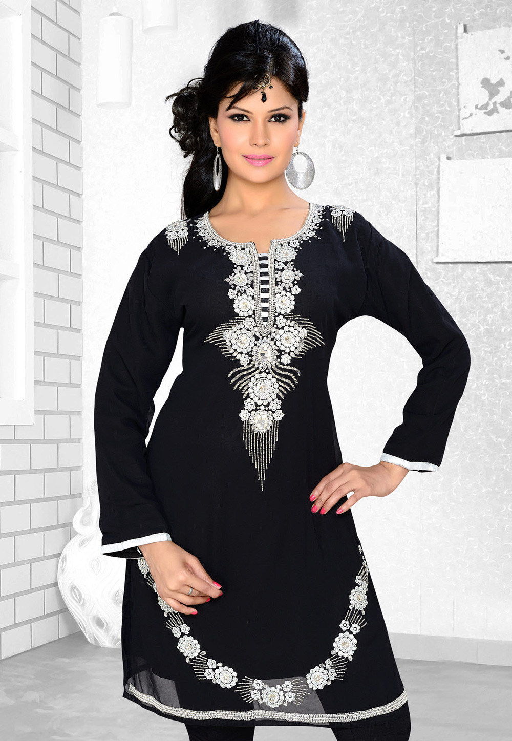 Black Faux Georgette Embroidered Readymade Islamic Kurti 194313