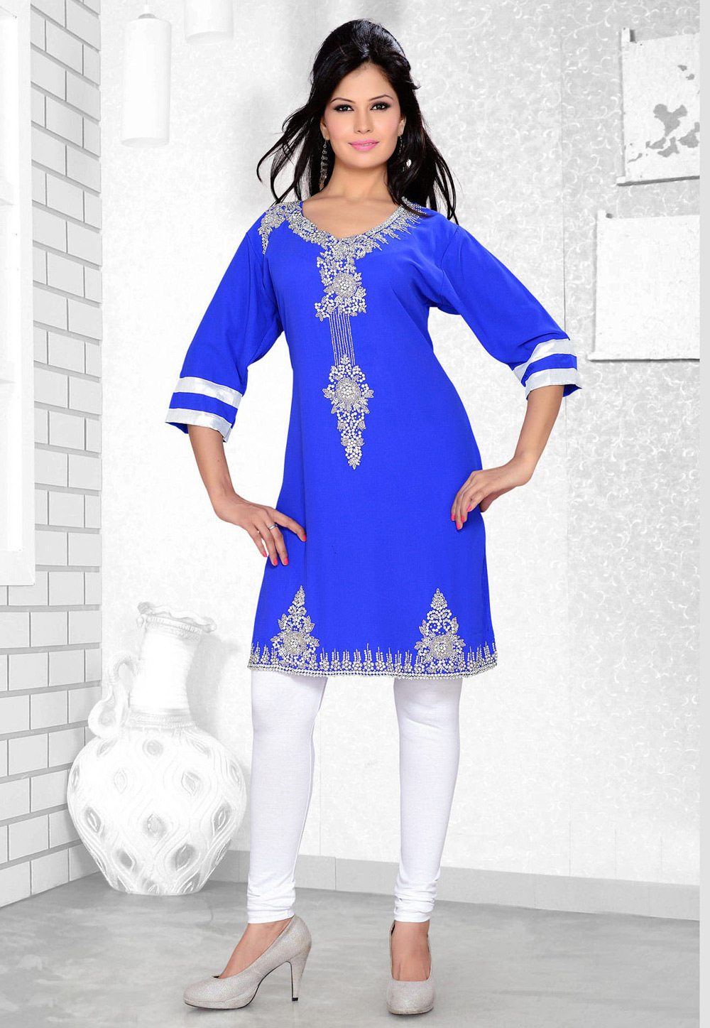 Blue Faux Georgette Embroidered Readymade Islamic Kurti 194314