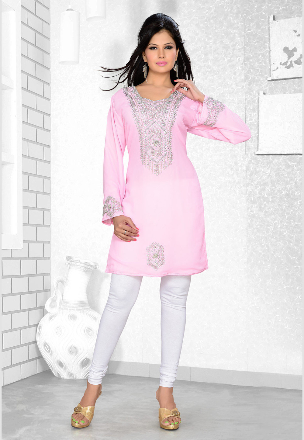 Light Pink Faux Georgette Embroidered Readymade Islamic Kurti 194315