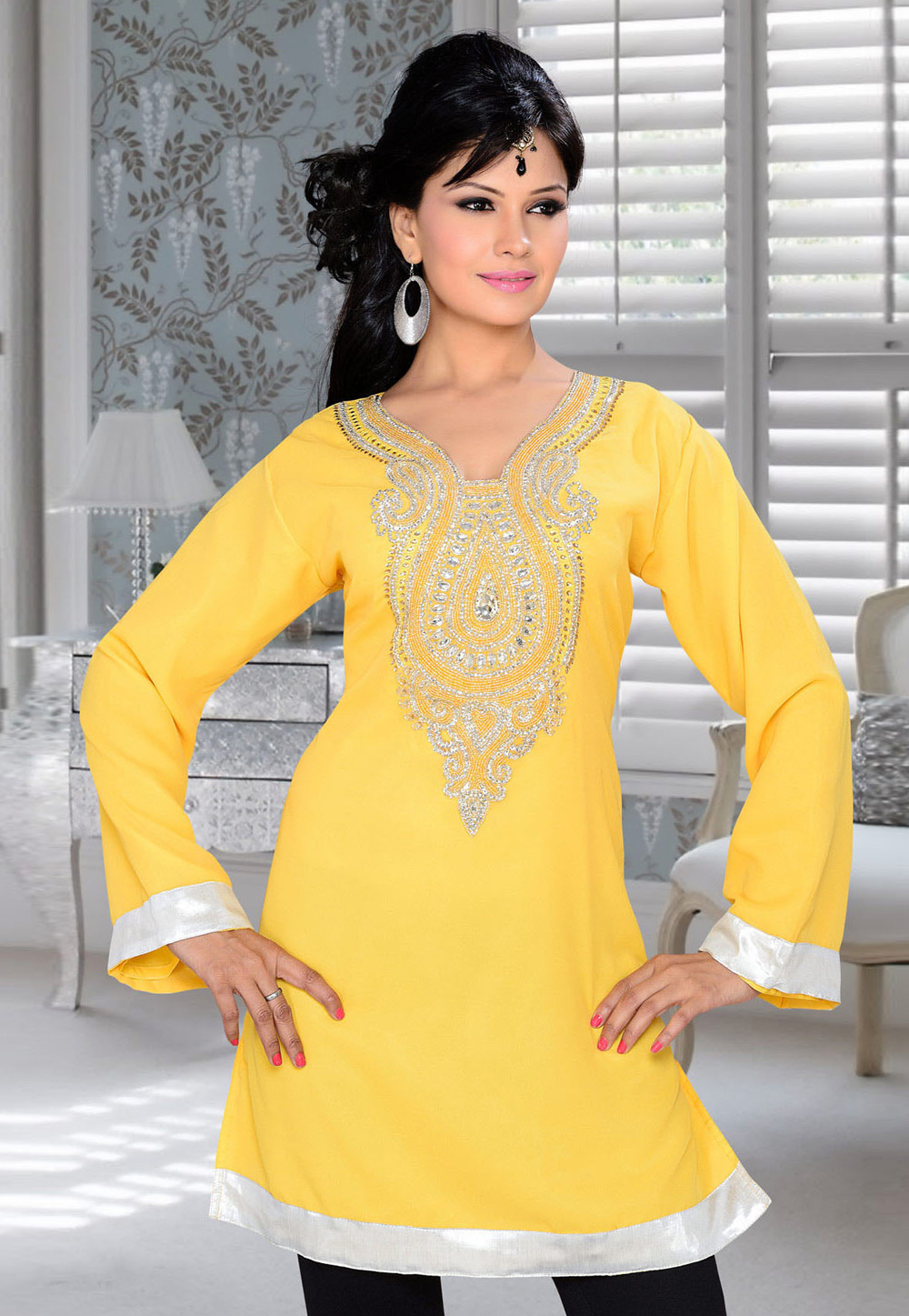 Yellow Faux Georgette Embroidered Readymade Islamic Kurti 194318