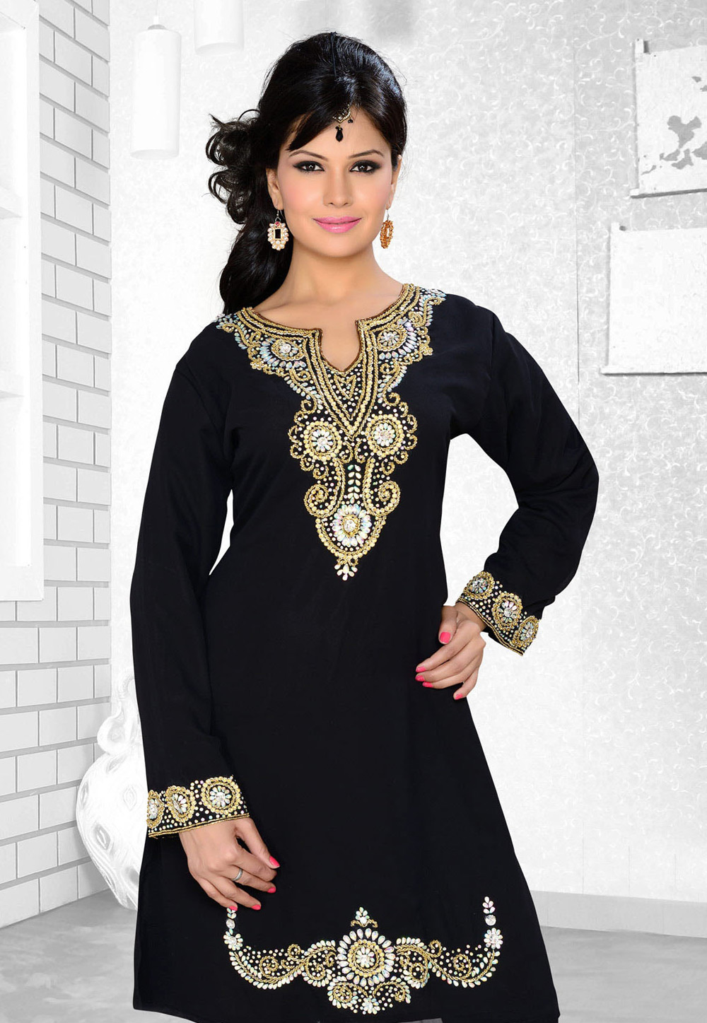 Black Faux Georgette Embroidered Readymade Islamic Kurti 194319