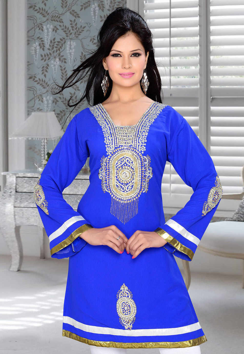 Blue Faux Georgette Embroidered Readymade Islamic Kurti 194320