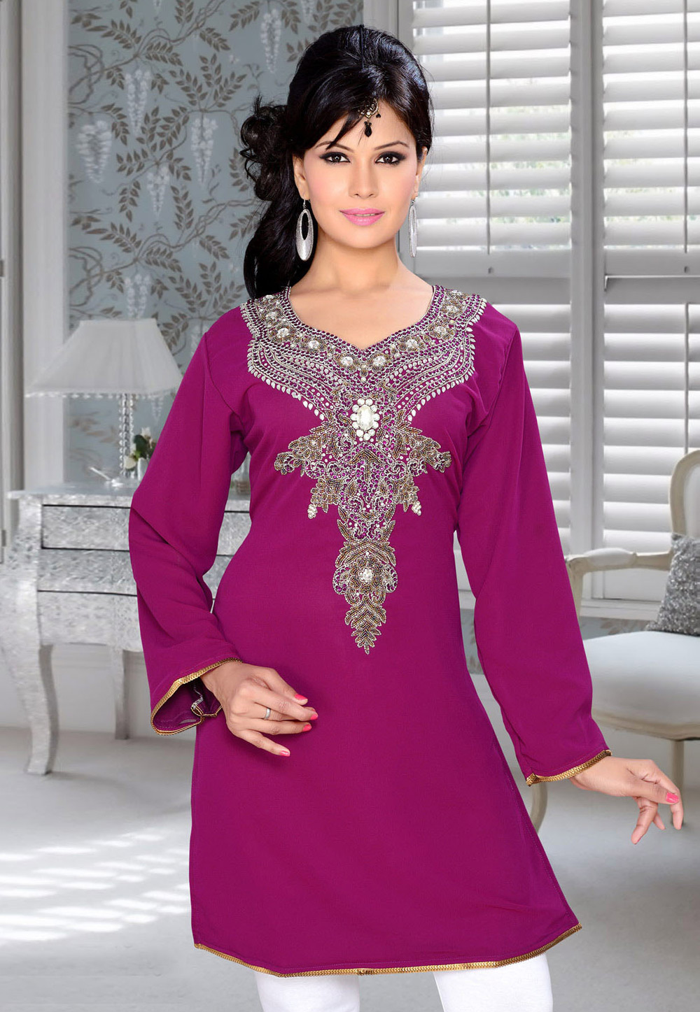 Purple Faux Georgette Embroidered Readymade Islamic Kurti 194322