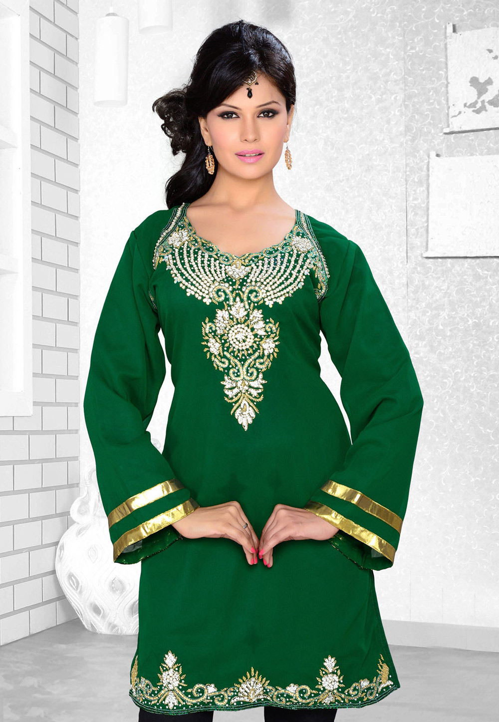 Green Faux Georgette Embroidered Readymade Islamic Kurti 194323