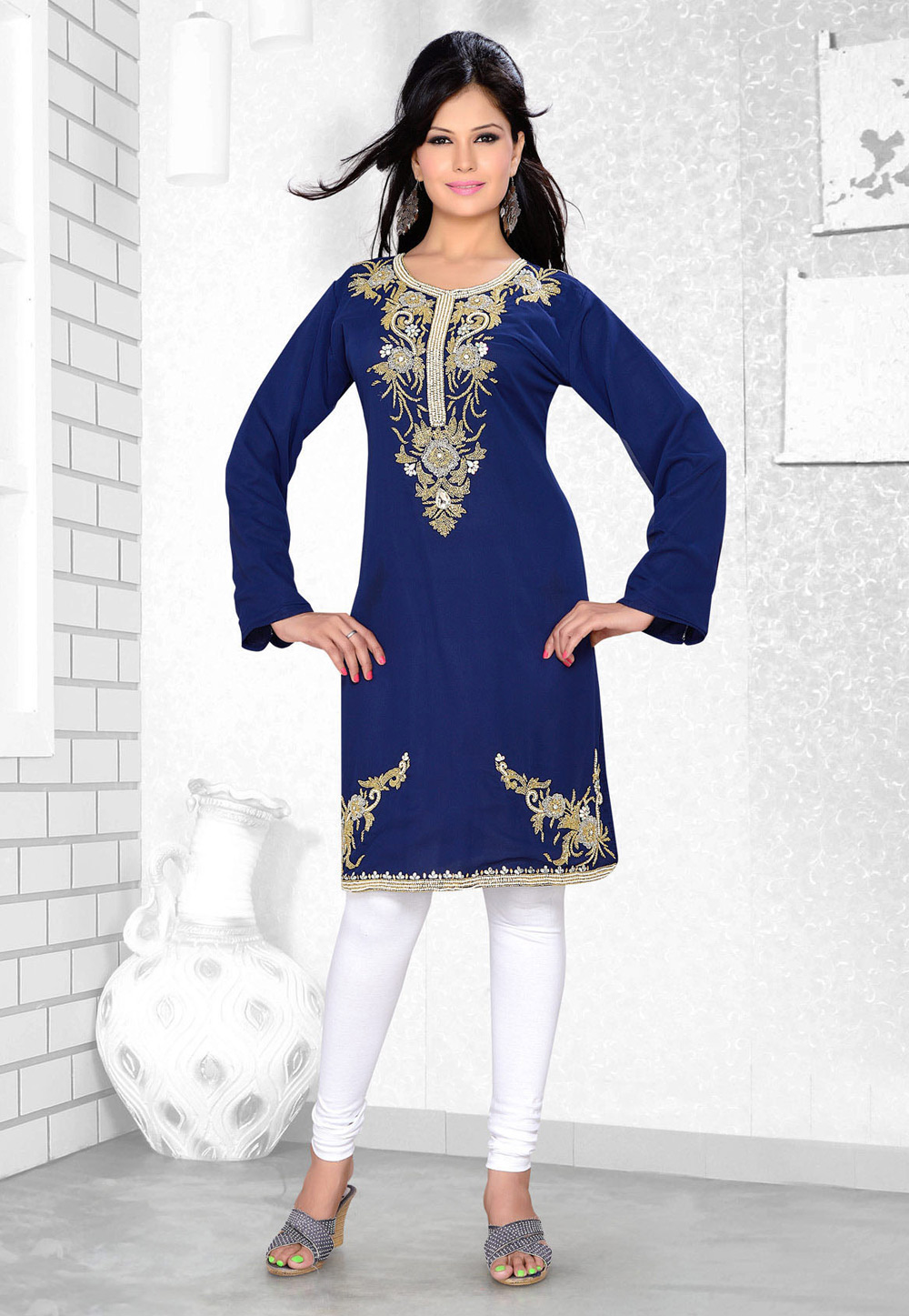 Navy Blue Faux Georgette Embroidered Readymade Islamic Kurti 194324