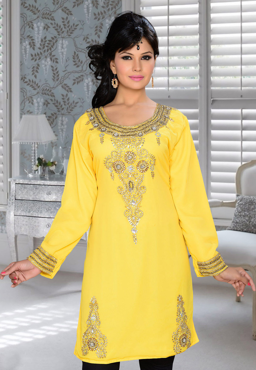 Yellow Faux Georgette Embroidered Readymade Islamic Kurti 194325