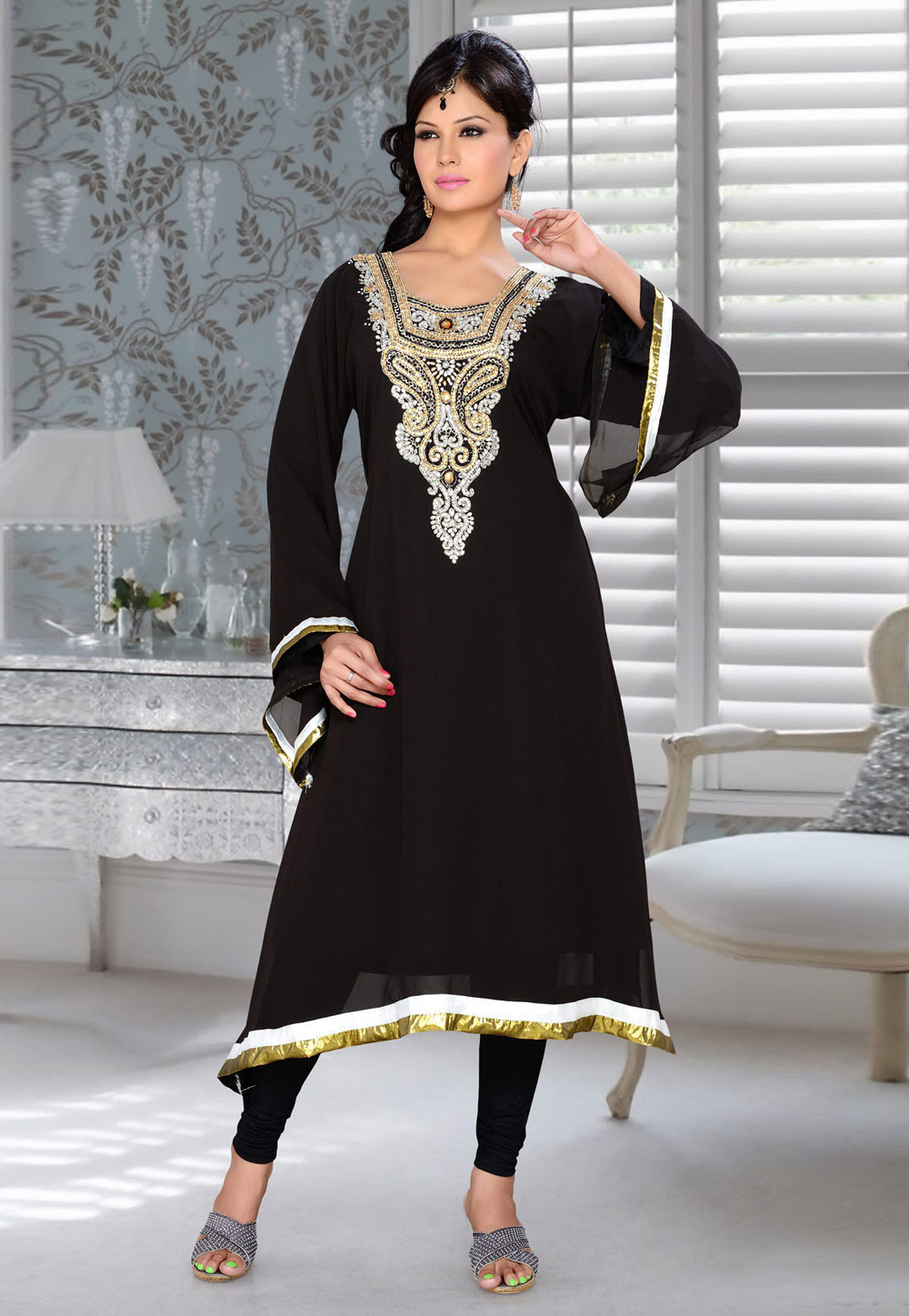 Black Faux Georgette Embroidered Readymade Islamic Kurti 194326