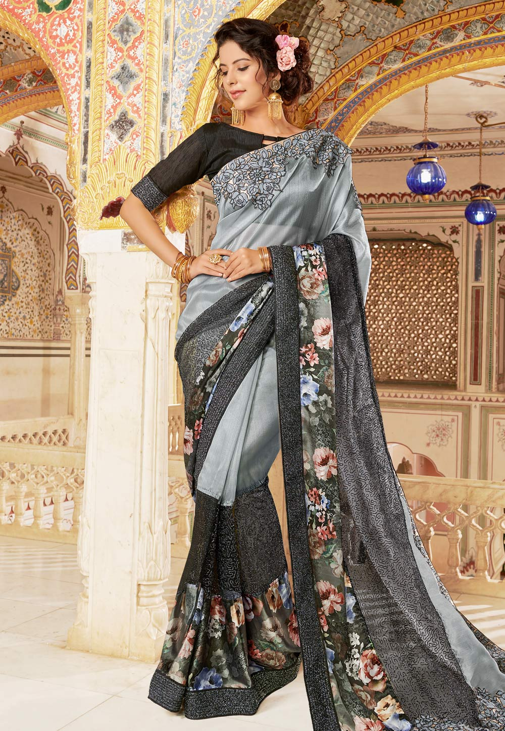 Grey Net Embroidered Saree With Blouse 169952
