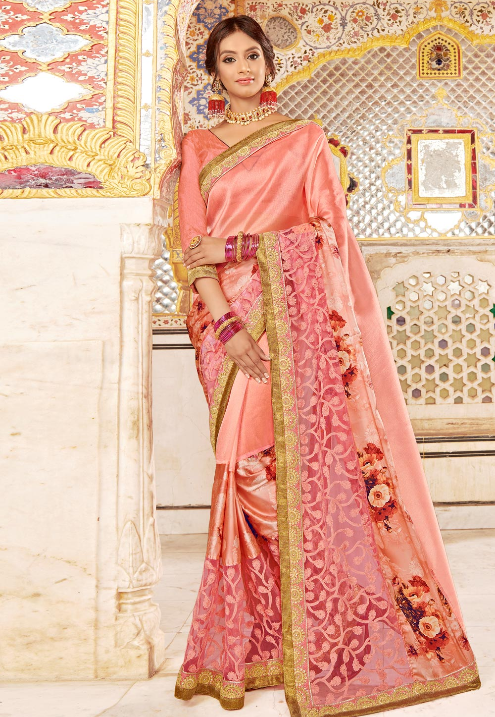 Pink Net Embroidered Festival Wear Saree 169953
