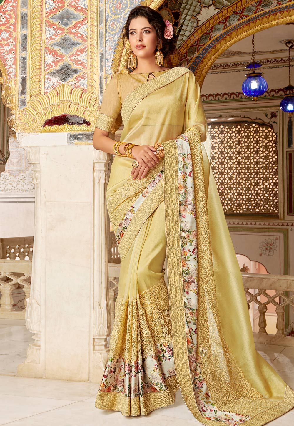 Light Yellow Net Embroidered Festival Wear Saree 169955