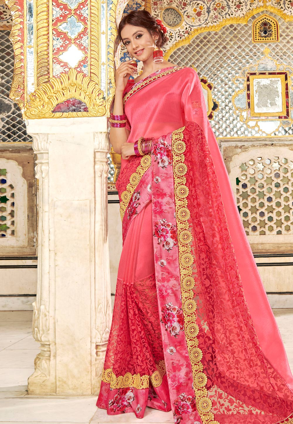 Pink Net Embroidered Saree With Blouse 169956