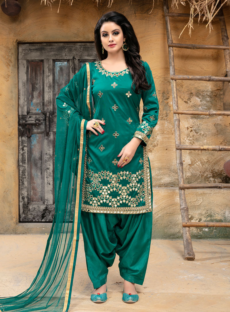 Sea Green Taffeta Silk Punjabi Suit 142086