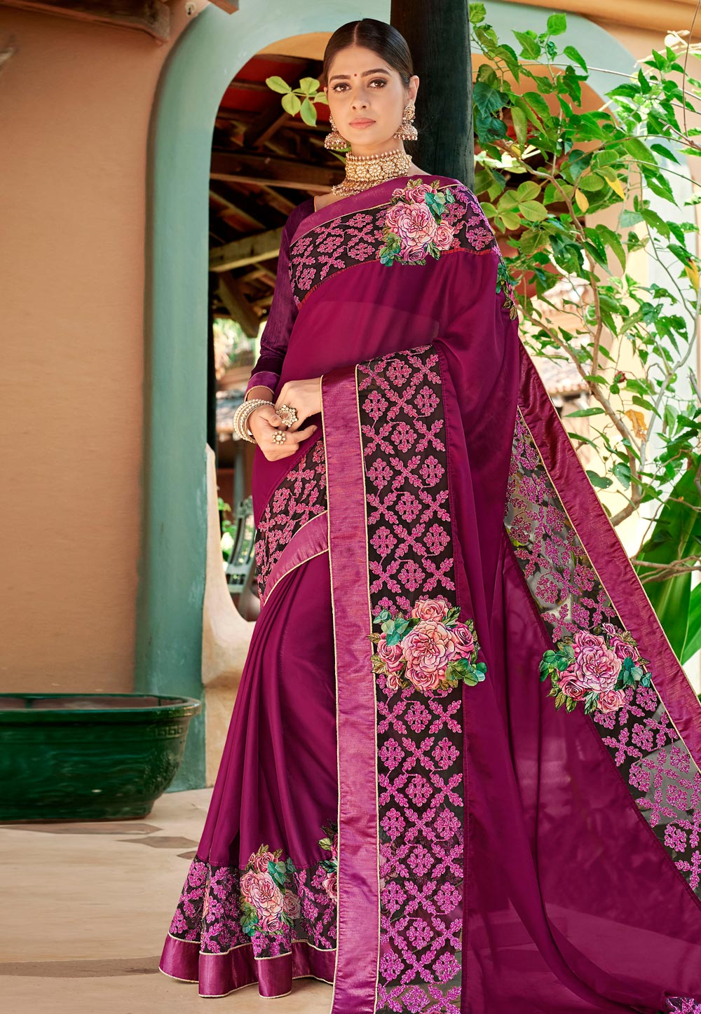 Purple Georgette Saree With Blouse 184715