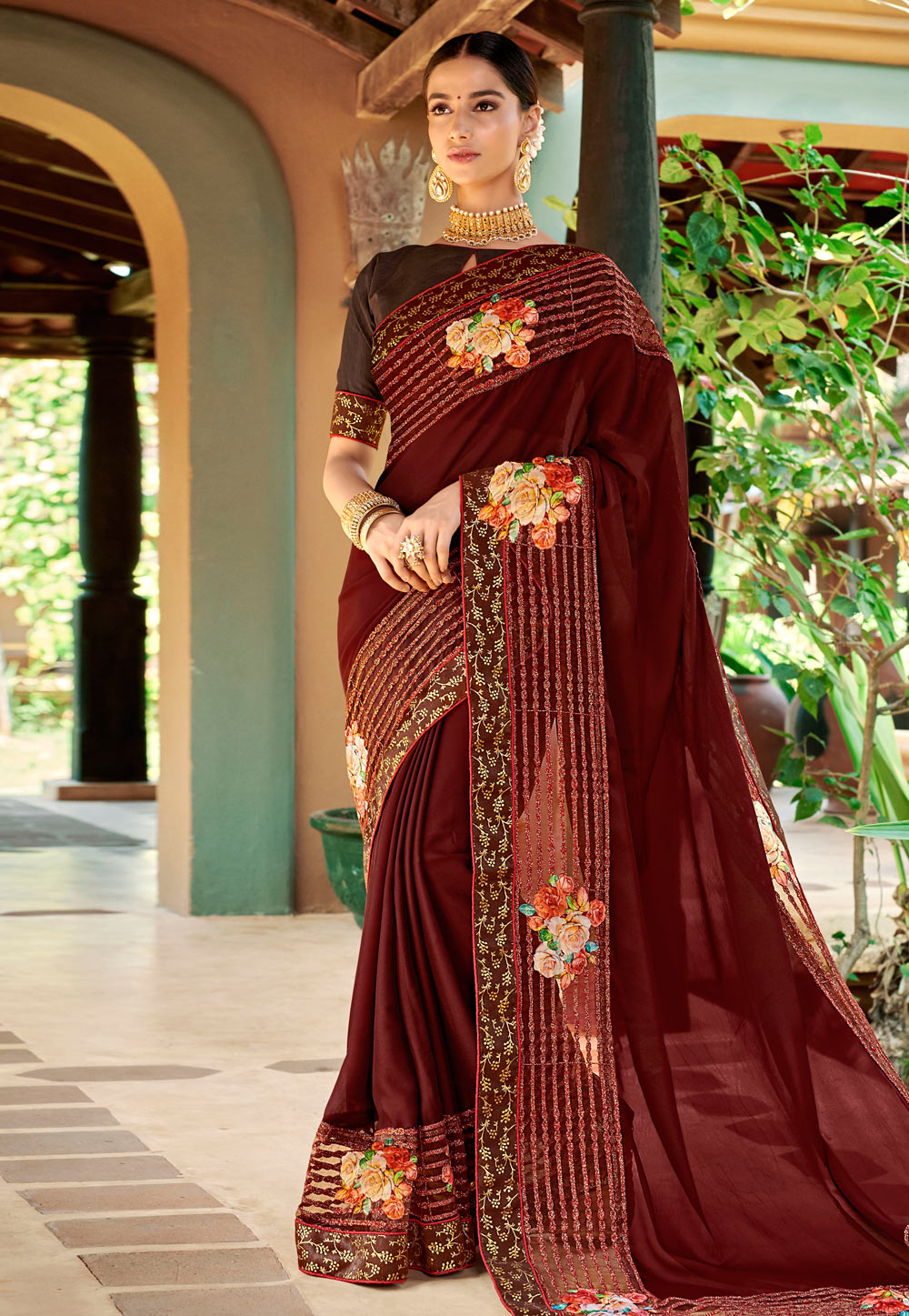 Maroon Georgette Saree With Blouse 184717